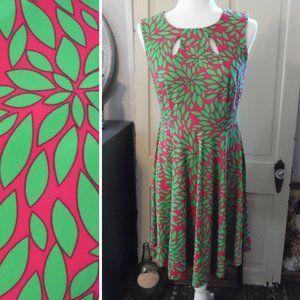 NWT Fuschia/Pink & Green Boho Fit & Flare Dress, M